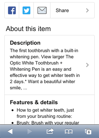 Amazon mobile product description screenshot