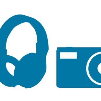 headphones and camera