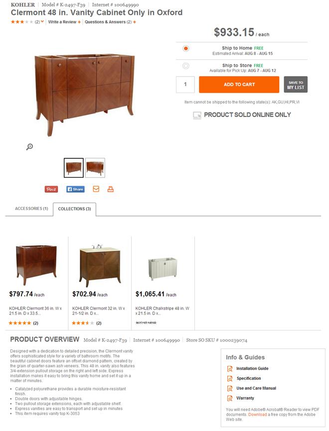 Home Depot product page for Kohler vanity