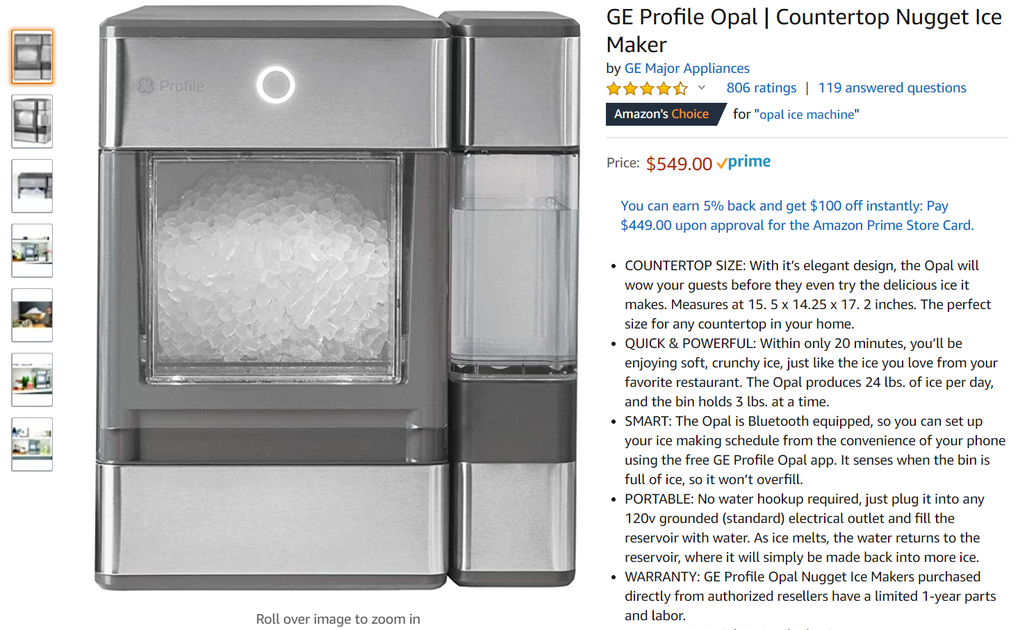 GE Opal ice maker