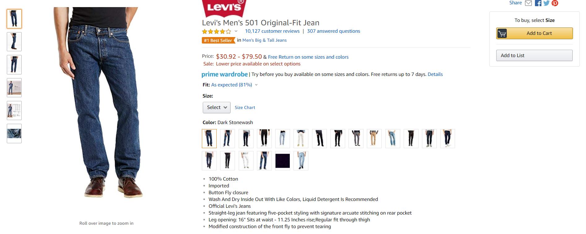 Levi's Men's Amazon fashion content