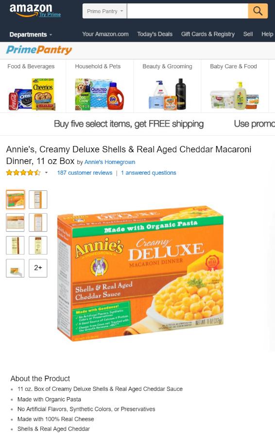 Online Grocery - Annie's Macaroni