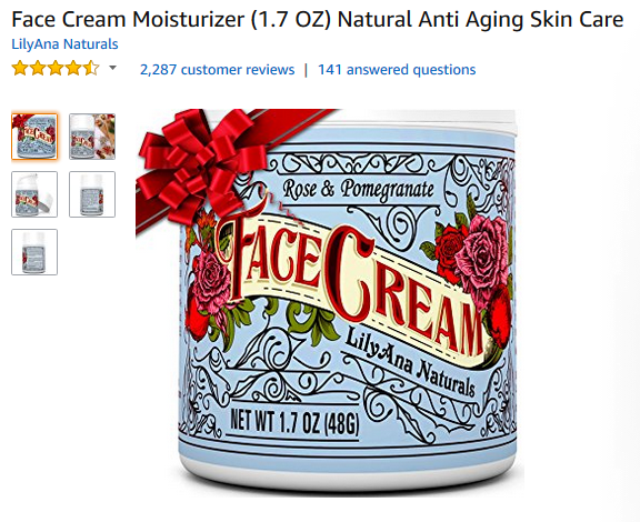 Amazon face cream product title