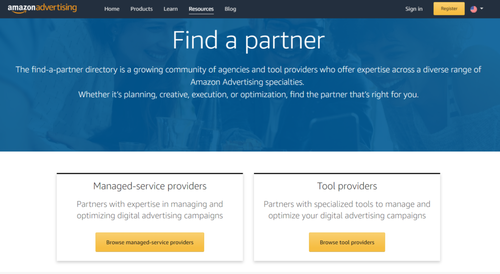 Amazon find a partner directory screenshot