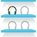 digital shelf with headphones