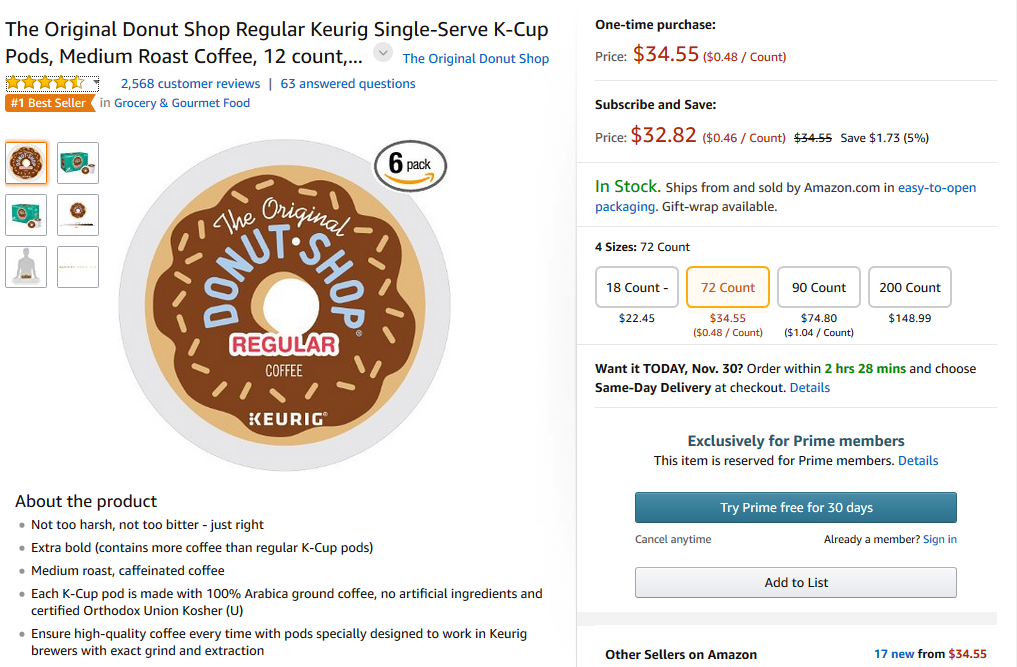 Amazon Keurig product page