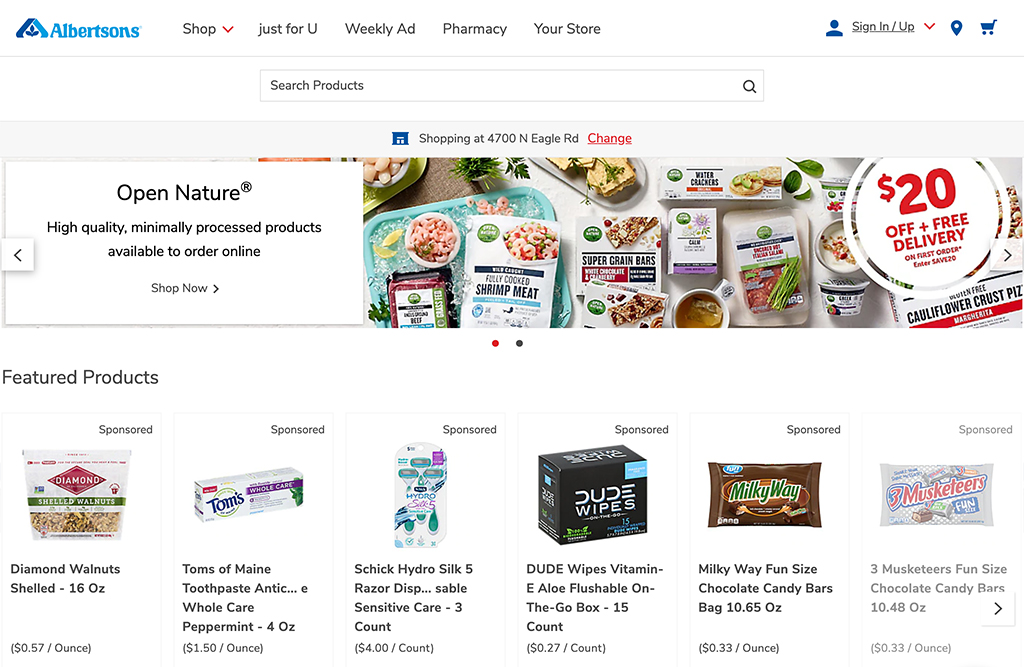 Online grocery advertising: Albertsons