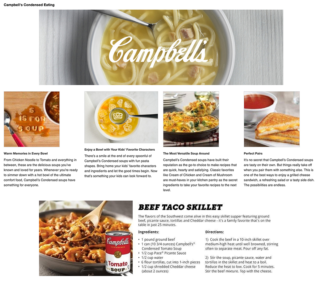 Online grocery advertising: Campbell's