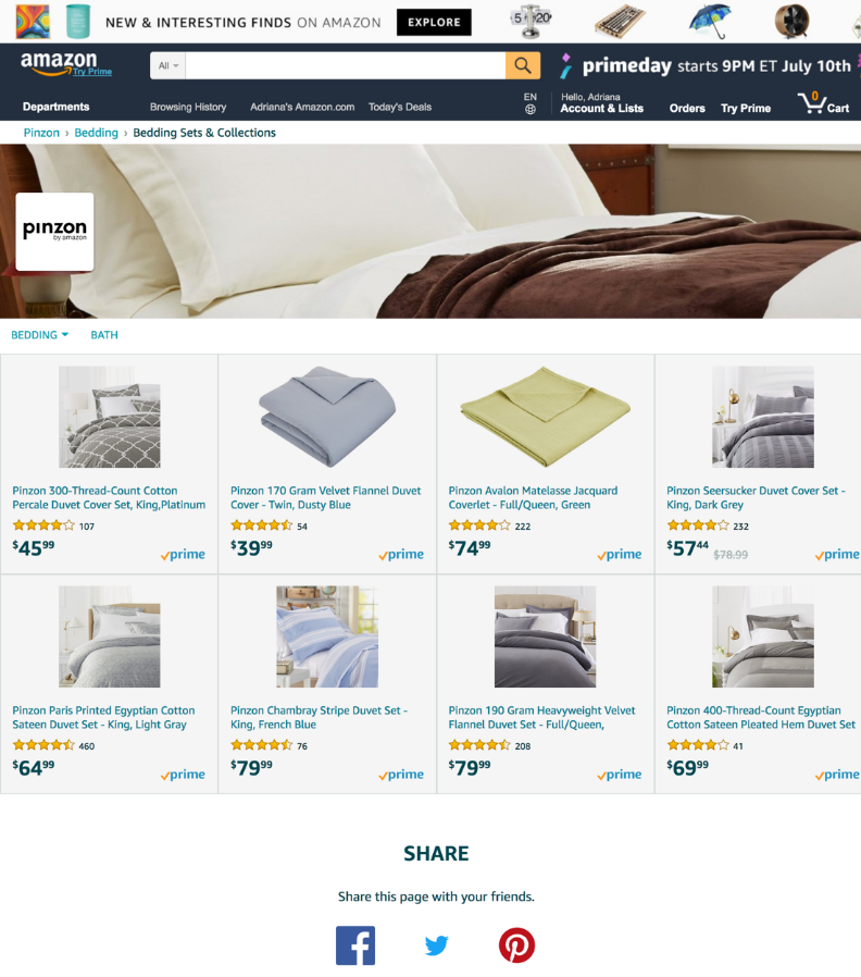 Example of the Product Grid template of an Amazon Store
