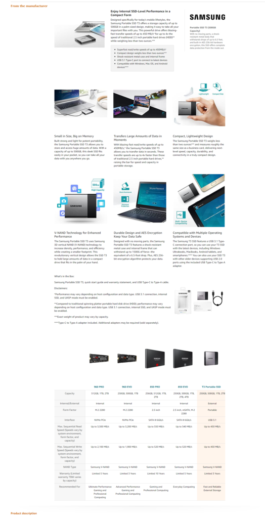 Samsung Product Page